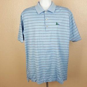Peter Millar Men's Golf Polo Size XL Blue Strip